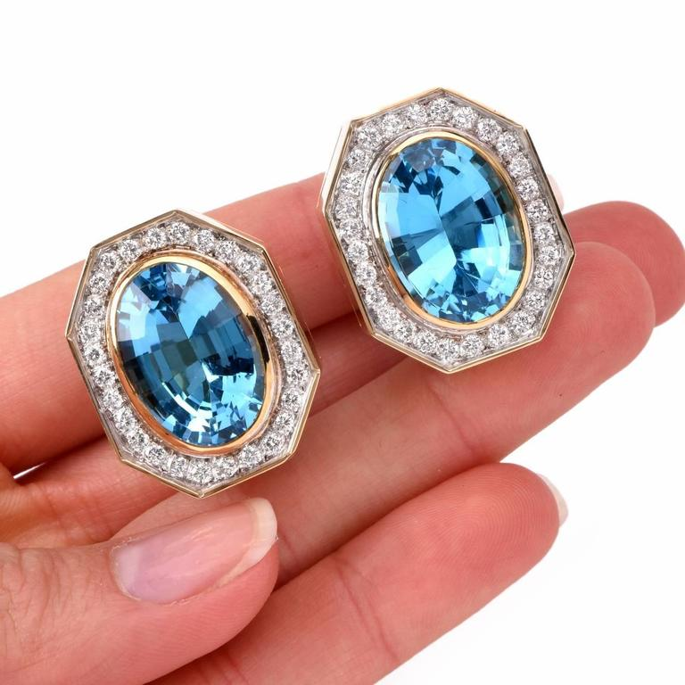 Retro Blue Topaz Diamond Gold Stud Clip-on Earrings 5