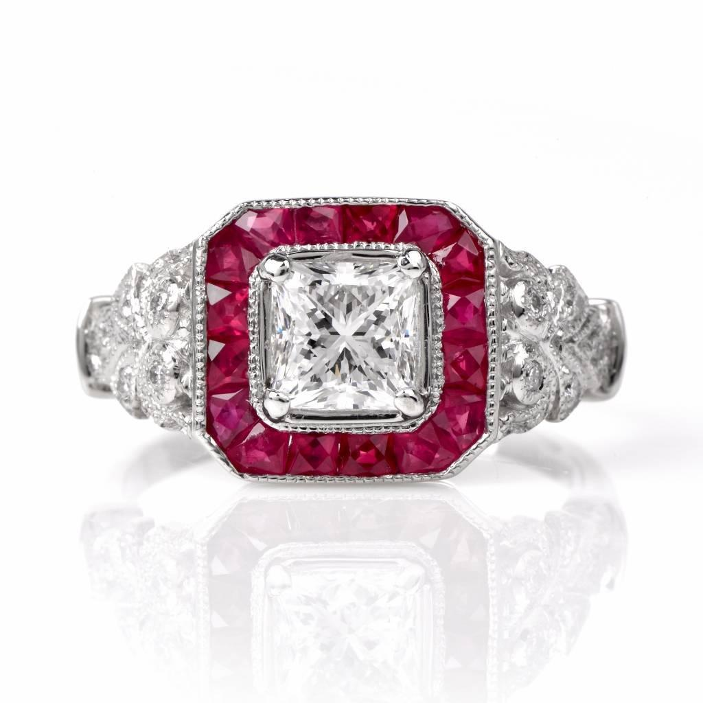 ruby platinum engagement ring at 1stdibs