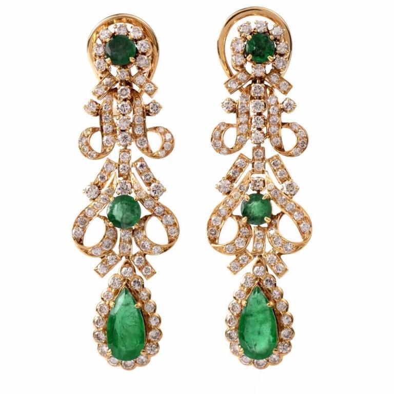 Emerald Chandelier Earrings Pearl Emerald Chandelier
