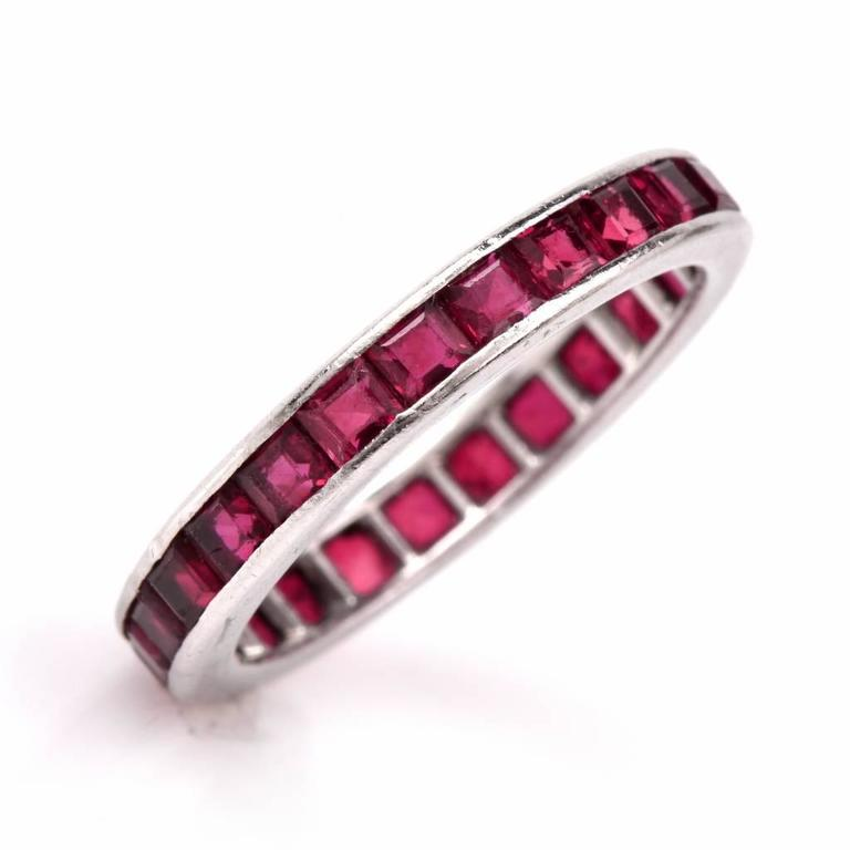 antique deco ruby platinum eternity band ring at 1stdibs