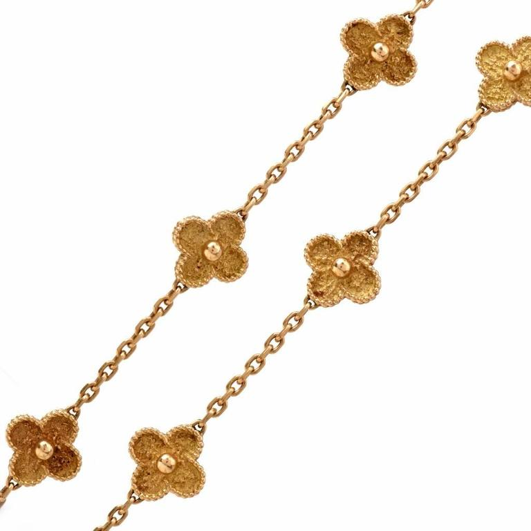 This Vintage VCA alhambra Necklace is made in solid 18 Karat Gold 'Alhambra' Necklace, Van Cleef & Arpels It Composed of 20 quatrefoil-shaped links, gross weight approximately 35 dwts, length 32 inches, signed VCA and numbered in mint