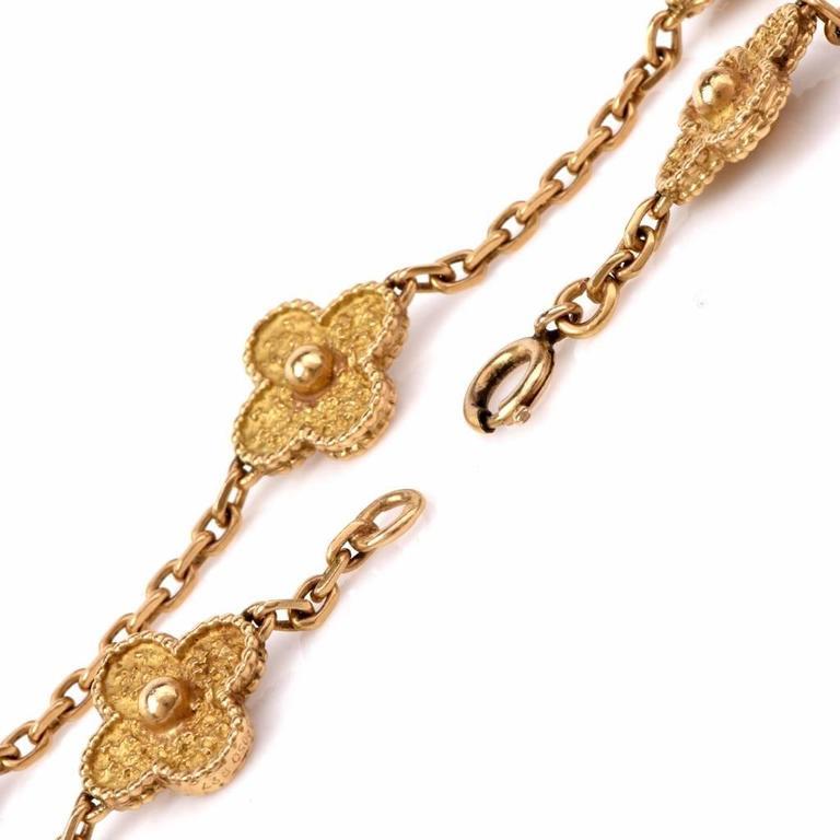 Women's Van Cleef & Arpels  Vintage Alhambra 20 Motif 32 Inch Gold Necklace For Sale