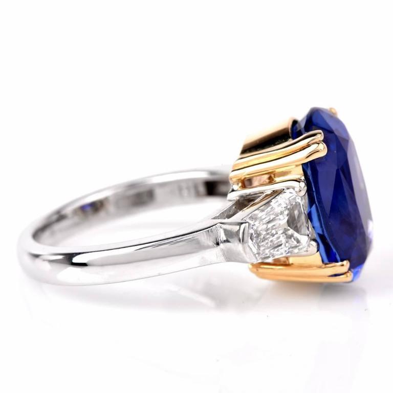 Burma No Heat Natural Sapphire Diamond Platinum Ring 5