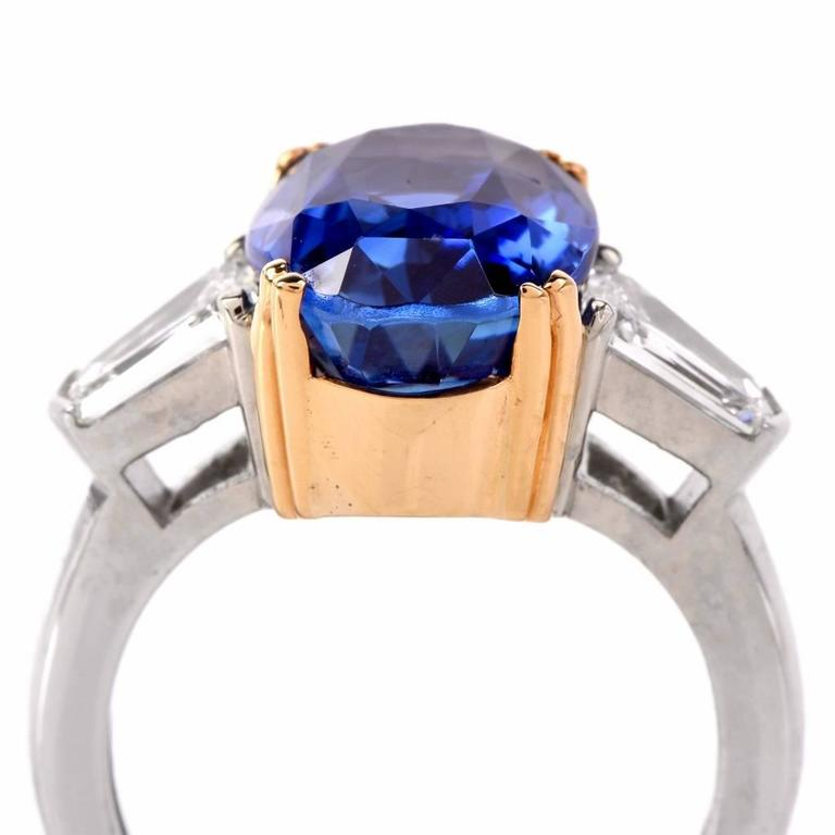 Burma No Heat Natural Sapphire Diamond Platinum Ring For Sale 1