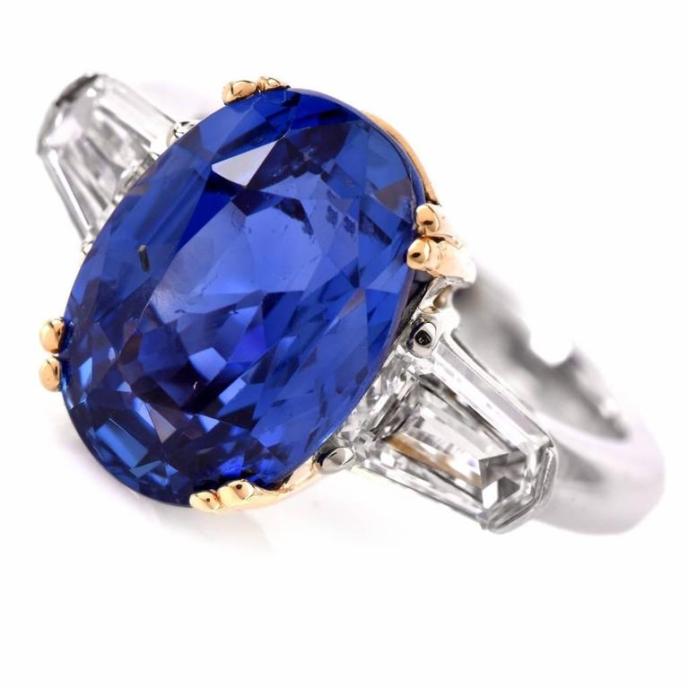 Burma No Heat Natural Sapphire Diamond Platinum Ring 3