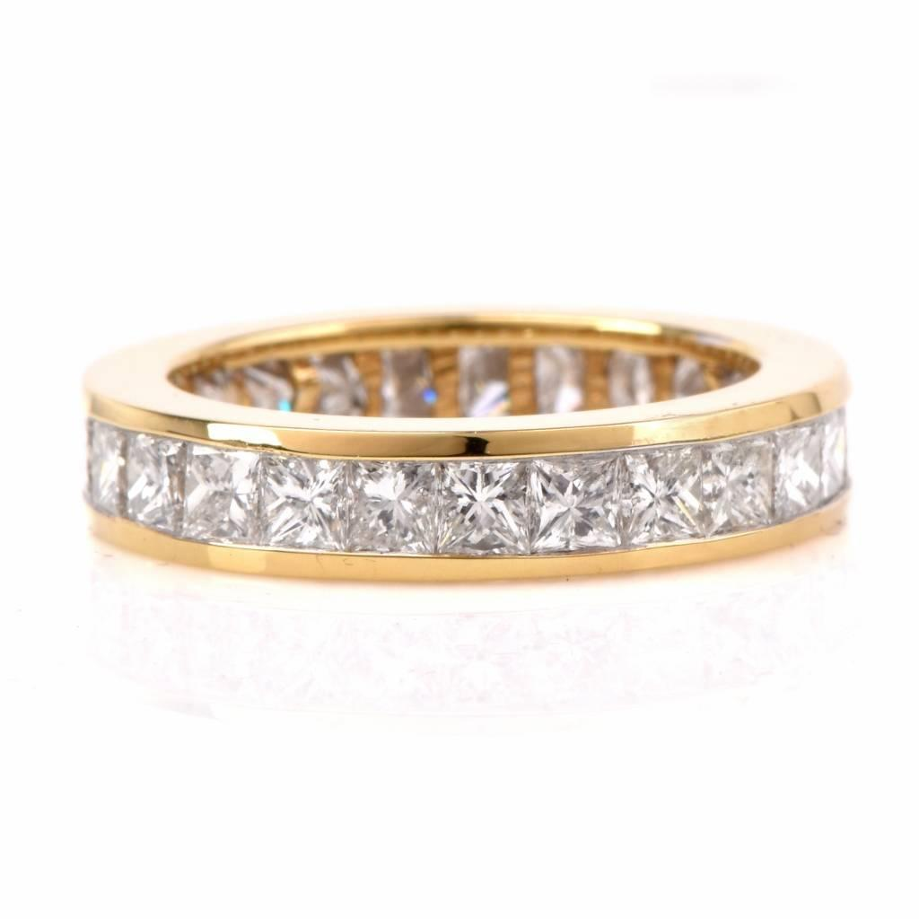 princess cut gold eternity band ring at 1stdibs