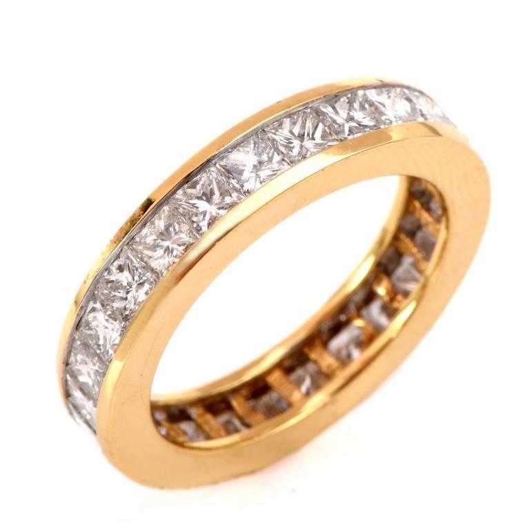 princess cut gold eternity band ring at 1stdibs