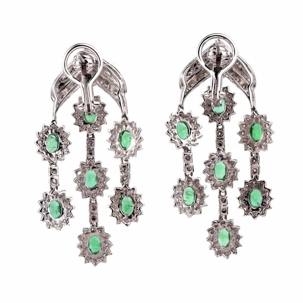 Emerald Diamond Gold Chandelier Earrings For Sale at 1stdibs