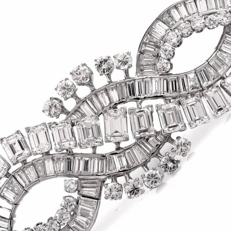 Women's Retro Wide Emerald Cut and Round Diamond Platinum Bracelet For Sale