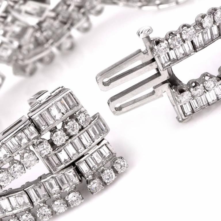 Retro Wide Emerald Cut and Round Diamond Platinum Bracelet For Sale 1