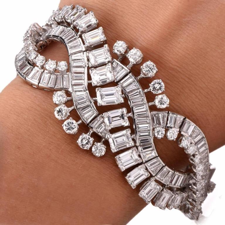 Retro Wide Emerald Cut and Round Diamond Platinum Bracelet For Sale 2