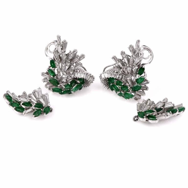 Platinum Emerald Diamond Cluster Pendant Day And Night