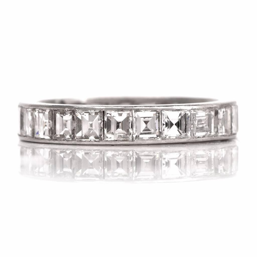 1930s Square Cut Diamond Platinum Eternity Band Ring For