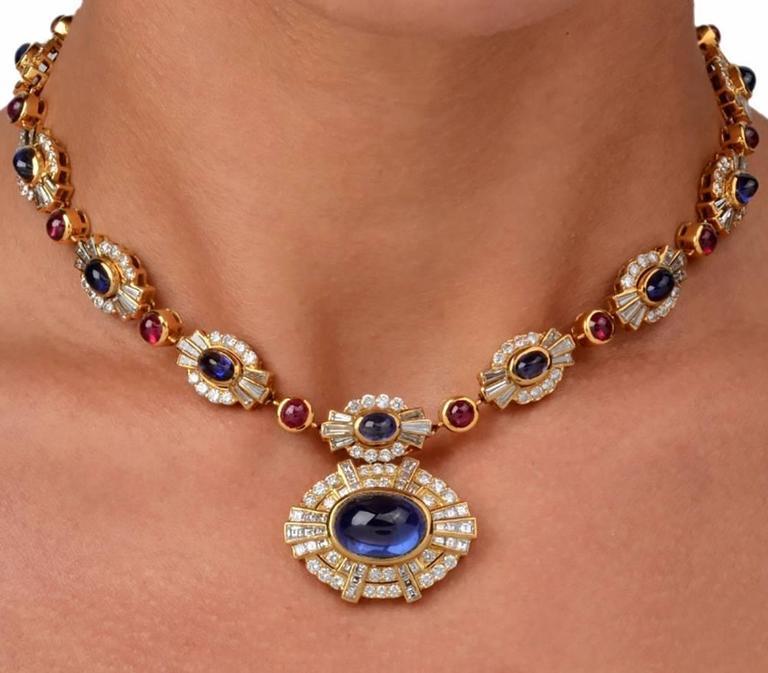 Women's Ruby Sapphire Diamond Gold Choker Necklace For Sale