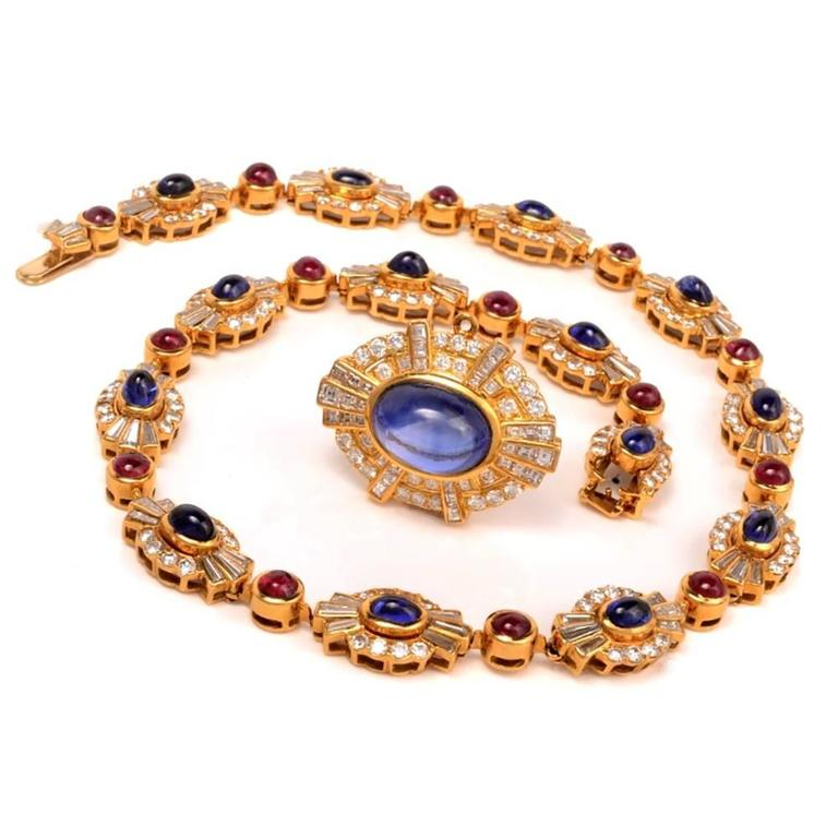 Ruby Sapphire Diamond Gold Choker Necklace For Sale 1