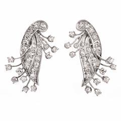 Diamond Platinum Floral Spray Filigree Earrings
