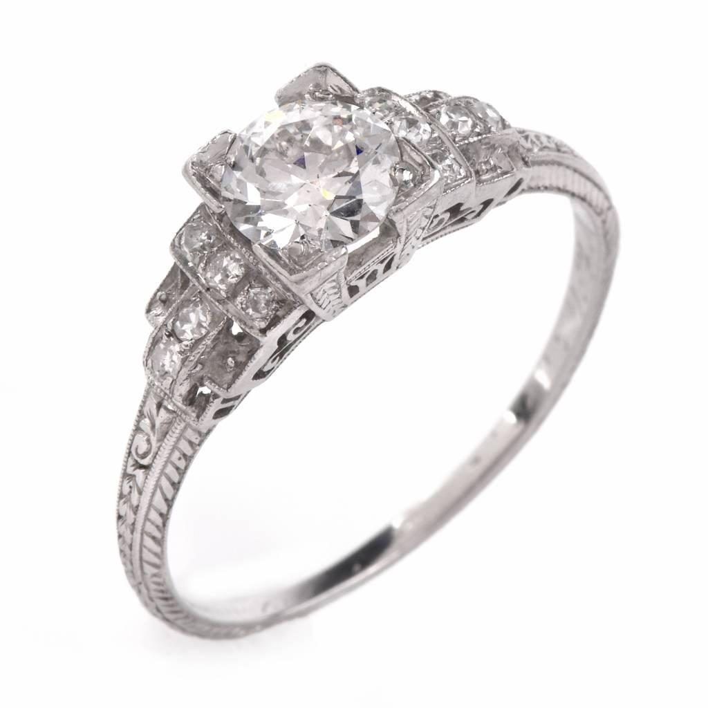 Antique Art Deco Diamond Platinum Engagement Ring For Sale at 1stdibs