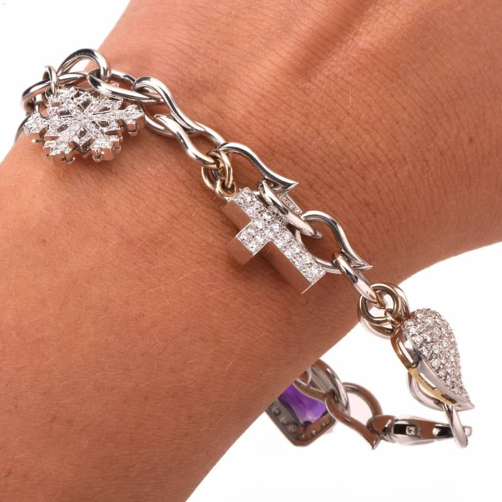 Cross Charm Bracelet: Multi-Gem Diamond Gold Charm Bracelet With Diamond Snow