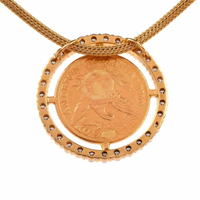American Eagle $5 Liberty Coin Diamond Gold Frame Pendant Necklace 4