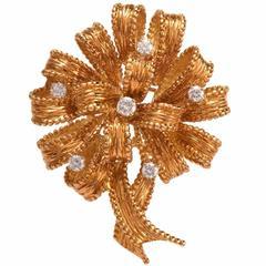 Henry Dankner Diamond Gold Flower Brooch Pin