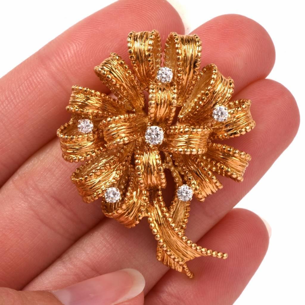 Henry Dankner Diamond Gold Flower Brooch Pin For Sale at 1stdibs