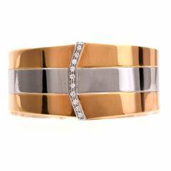 Diamond Two Color Gold Cuff Bangle Bracelet