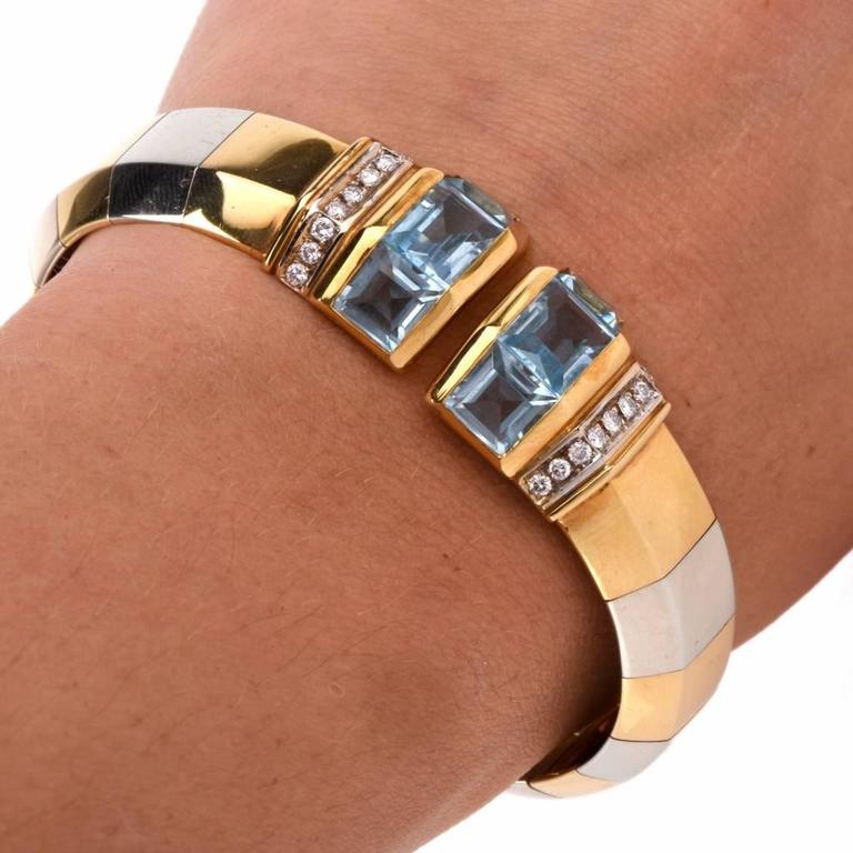 Stylish Aquamarine Diamond Gold Cuff Bracelet 5