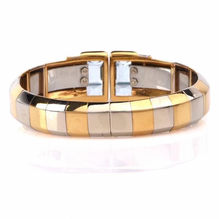 Stylish Aquamarine Diamond Gold Cuff Bracelet 4