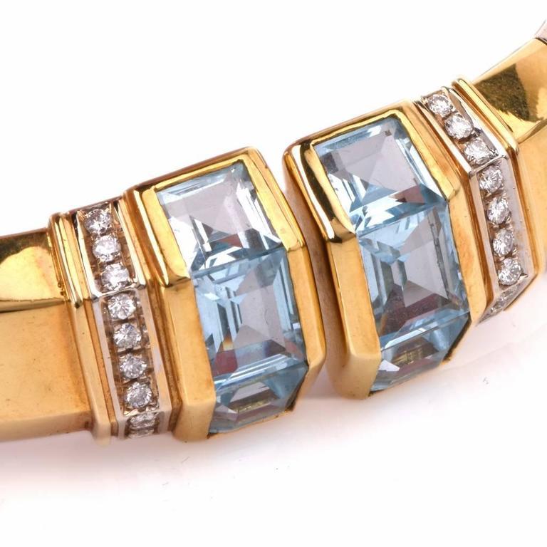 Stylish Aquamarine Diamond Gold Cuff Bracelet 3