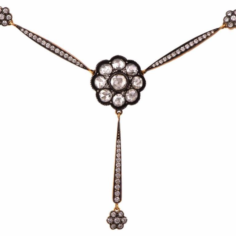 Rose-Cut Diamond Gold Pendant Necklace  2