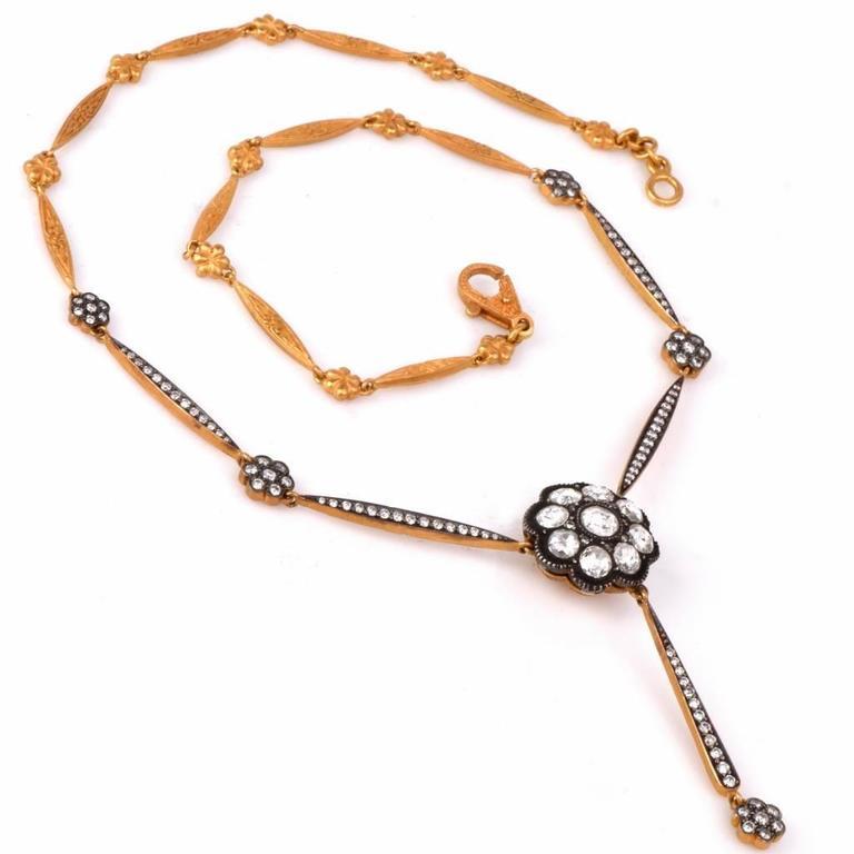 Rose-Cut Diamond Gold Pendant Necklace  3