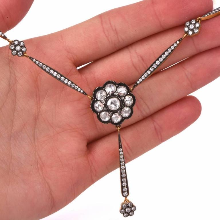 Rose-Cut Diamond Gold Pendant Necklace  5