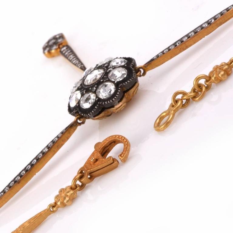 Rose-Cut Diamond Gold Pendant Necklace  4