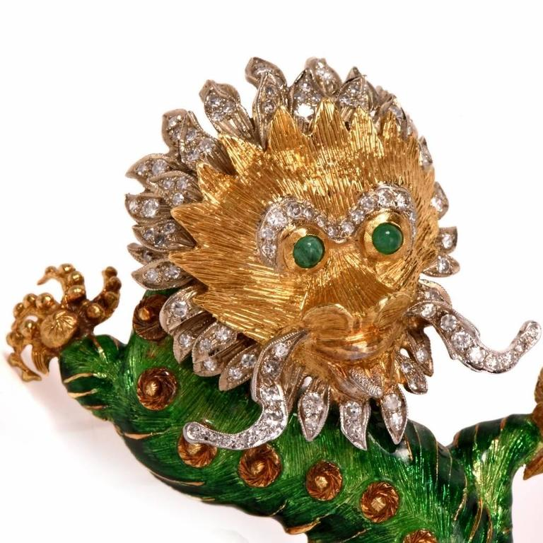 1960s Vintage Enamel Diamond Gold Chinese Dragon Brooch Pin In Excellent Condition In Miami, FL