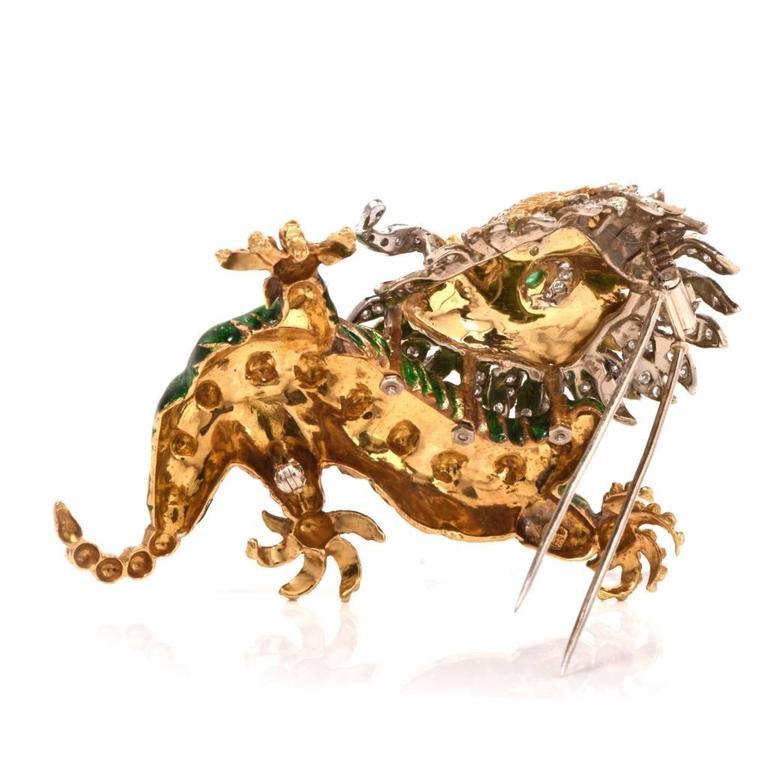 Women's 1960s Vintage Enamel Diamond Gold Chinese Dragon Brooch Pin