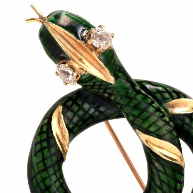 Retro 1950s Enamel Diamond Gold Snake Brooch Pin For Sale