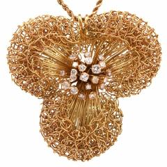 Italian Diamond Gold Flower Pin Pendant