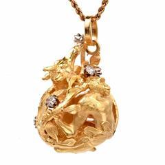 Precious Earth World of Africa Diamond Gold Pendant