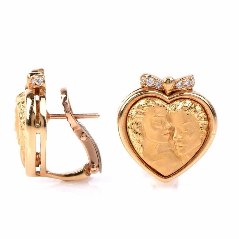 Carrera y Carrera Romeo Juliet Diamond Gold Heart Earrings In Excellent Condition For Sale In Miami, FL