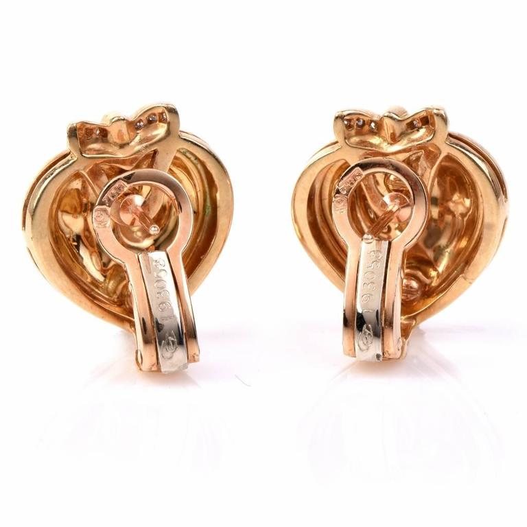 Women's Carrera y Carrera Romeo Juliet Diamond Gold Heart Earrings For Sale