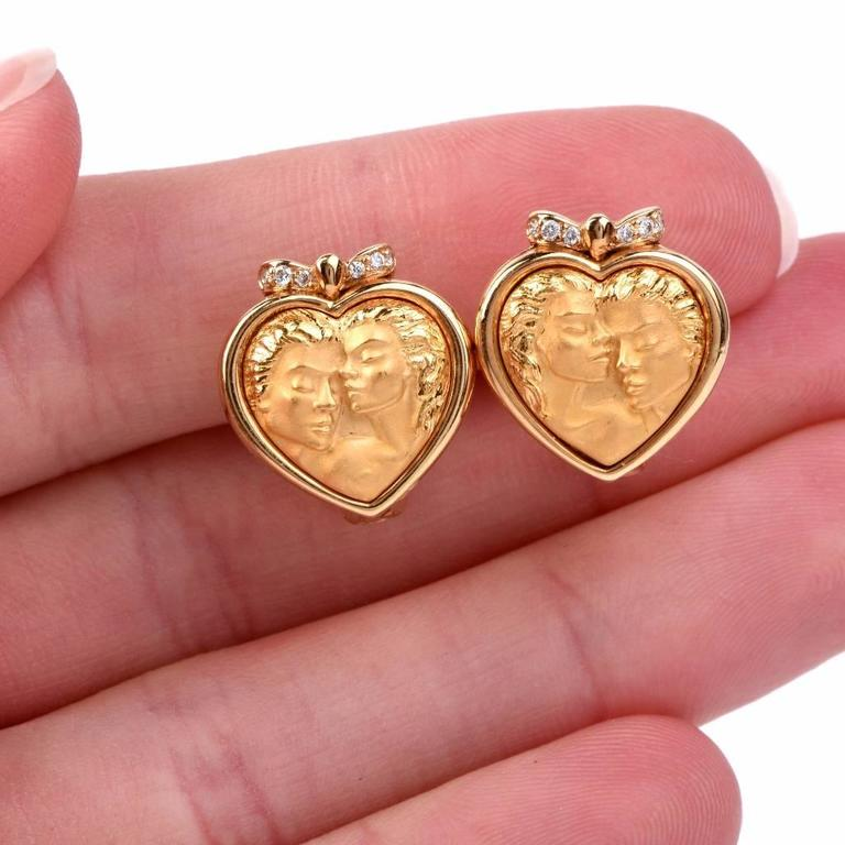 Carrera y Carrera Romeo Juliet Diamond Gold Heart Earrings For Sale 1