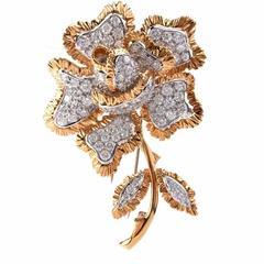 Sparkling Diamond Gold Flower Brooch Pin