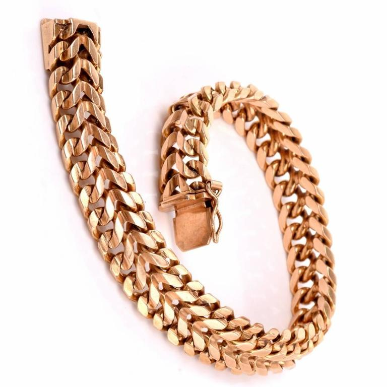 f8aed7f64 This stylish Retro vintage mens bracelet is crafted in solid 18K rose gold  with a simple