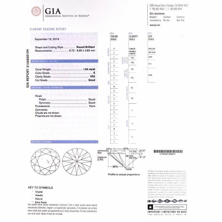 Women's GIA 2.13 Carat Extra White E-F, VS2 Diamond  18k Gold Stud Earrings For Sale