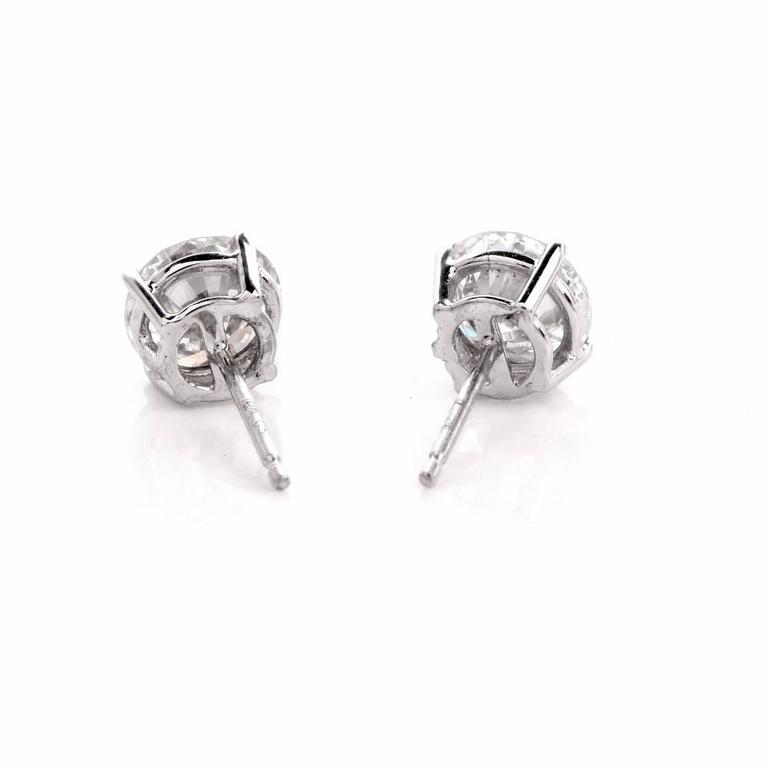 GIA 2.13 Carat Extra White E-F, VS2 Diamond  18k Gold Stud Earrings In Excellent Condition For Sale In Miami, FL