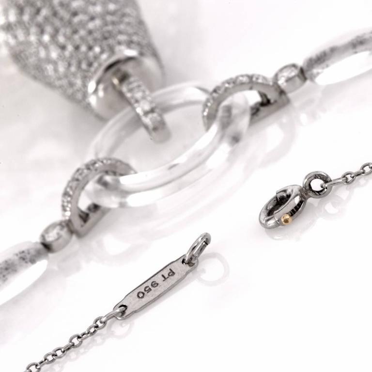 Tiffany & Co. Platinum Tassel Diamond Rock Crystal Necklace 5