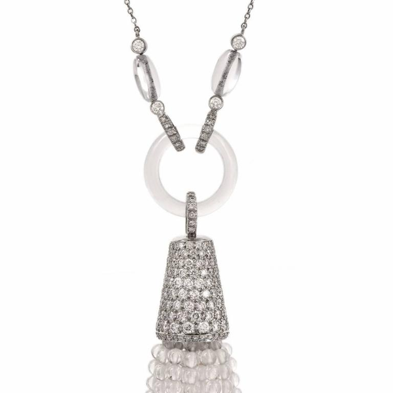 Tiffany & Co. Platinum Tassel Diamond Rock Crystal Necklace For Sale 2