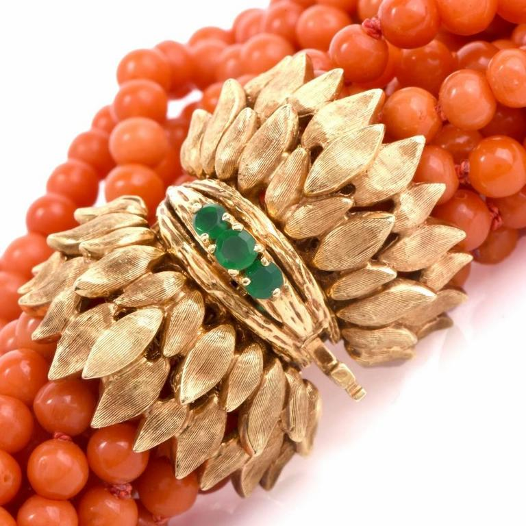 Multi-Strand Coral Bead Emerald Yellow Gold Bracelet For Sale 1
