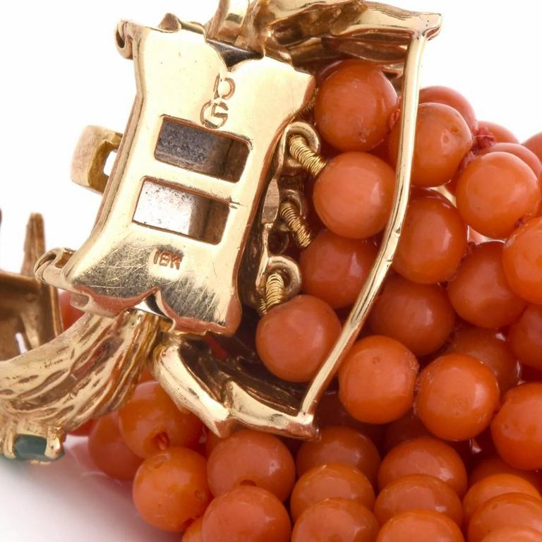 Multi-Strand Coral Bead Emerald Yellow Gold Bracelet 6