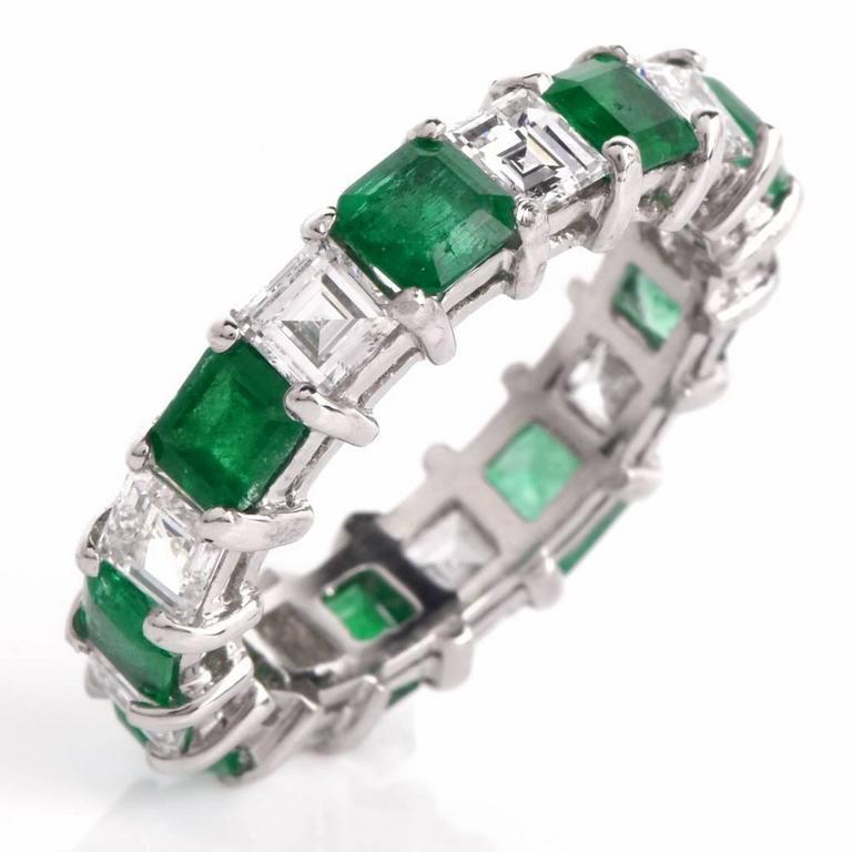 asscher emerald platinum eternity band ring at 1stdibs